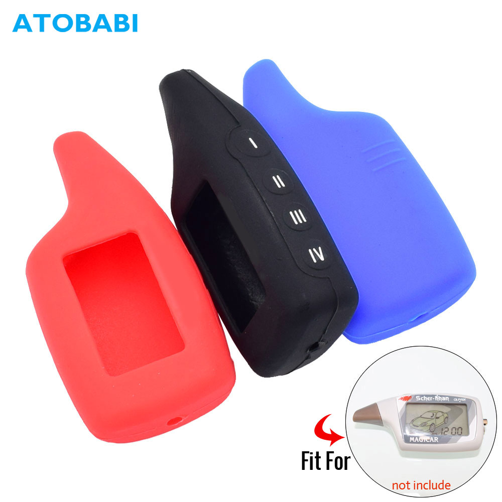 Silicone Car Key Case For Scher-Khan Magicar 5 6 V Logicar A B Two Way Car Alarm LCD Keychain Bag Remote Control Protector Cover
