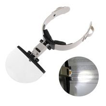 Magnifying Glass Lens-Head Stamp Wearing Illuminated Hand-Free Large with LED Reading