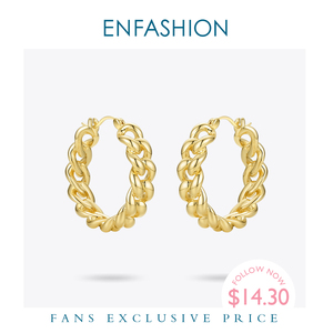 Image 1 - ENFASHION Punk Kleine Link Kette Hoop Ohrringe Für Frauen Gold Farbe Runde Hoops Ohrringe Modeschmuck Pendientes Mujer E191088