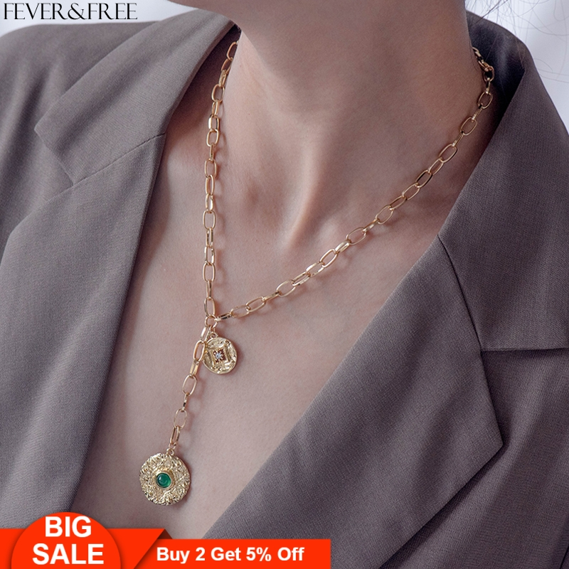 Fever&Free Fashion Vintage Bohemian Female Charm Gold Necklaces Green Bead Y Shaped Simple Coin Pendant Necklace Womens Jewelry