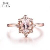 HELON Solid 10K Rose Gold Oval 6x4mm Natural Morganite Diamond Ring Women Engagement Wedding Fine Jewelry Gemstone Diamonds Ring
