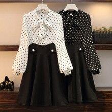 L-4XL Spring Autumn Office Dress Women Wave Point Lantern Sleeve Plus Size White Black Vintage Elegant for