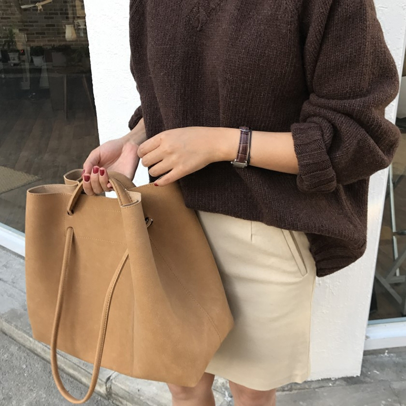 Retro 2019 New Designer Frosted Women Handbags PU Leather Bucket Shoulder Bag Female Fashion Larger Capacity Messenger Bag Girls