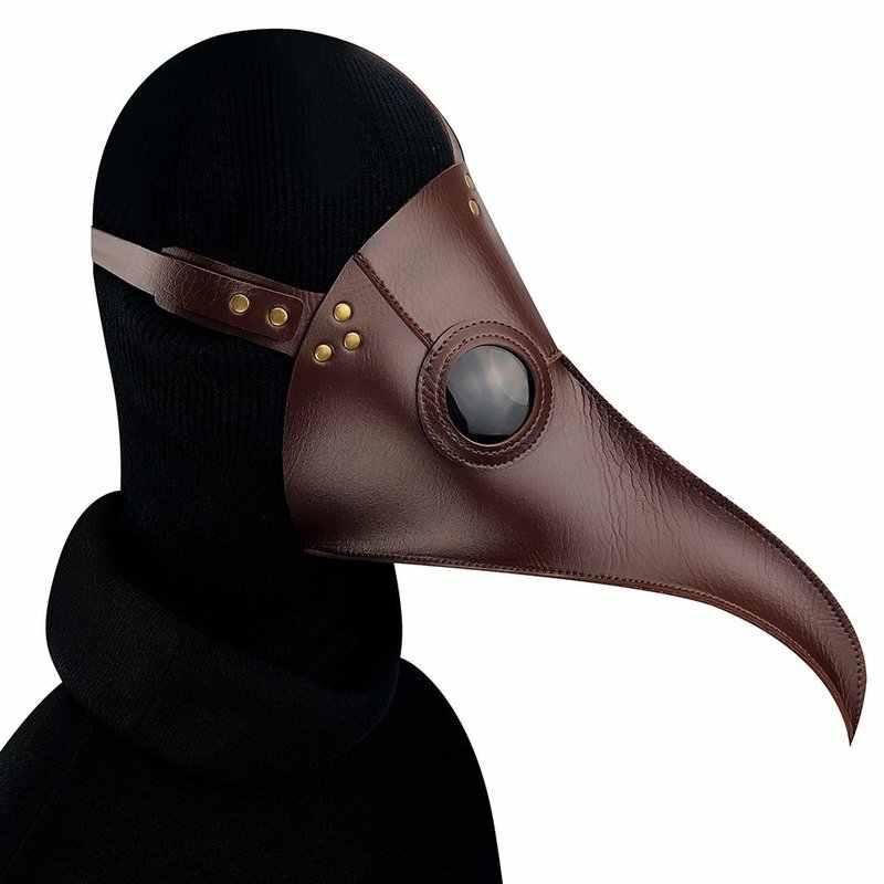 할로윈 남자 영국 스타일 중세 긴 부리 악마 코스프레 PU 가죽 펑크 마스크 카니발 파티 의상 크로우 테러 모자를 쓰고 있죠