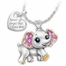Новое модное креативное ожерелье с милым слоном и надписью женский