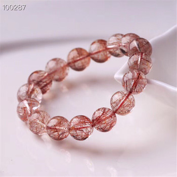 Natural Red Rutilated Quartz Clear Round Beads Bracelet 12mm 14mm For Women Men Reiki Stone Jewelry Fashion Bracelet AAAAA