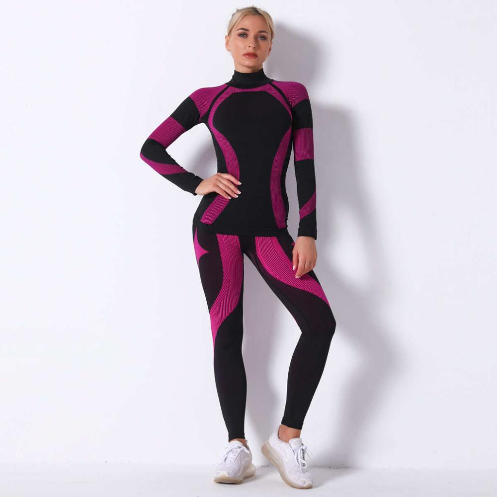 Women Thermal Underwear Suit Spring Autumn Winter Quick Dry Thermo Sporting Underwear Sets Female Fitness Gymming Long Johns 18A