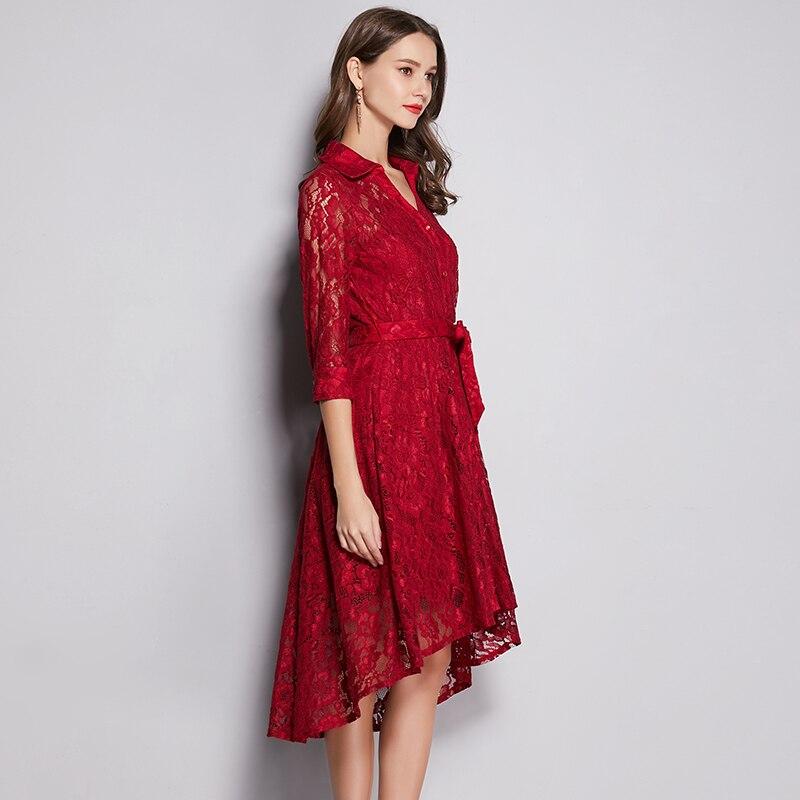 Vestido elegante de encaje de Primavera Verano 2019 talla grande cuello en V Alto y Bajo diseño asimétrico elegante vestido de encaje de mujer con faja cinturón - 4