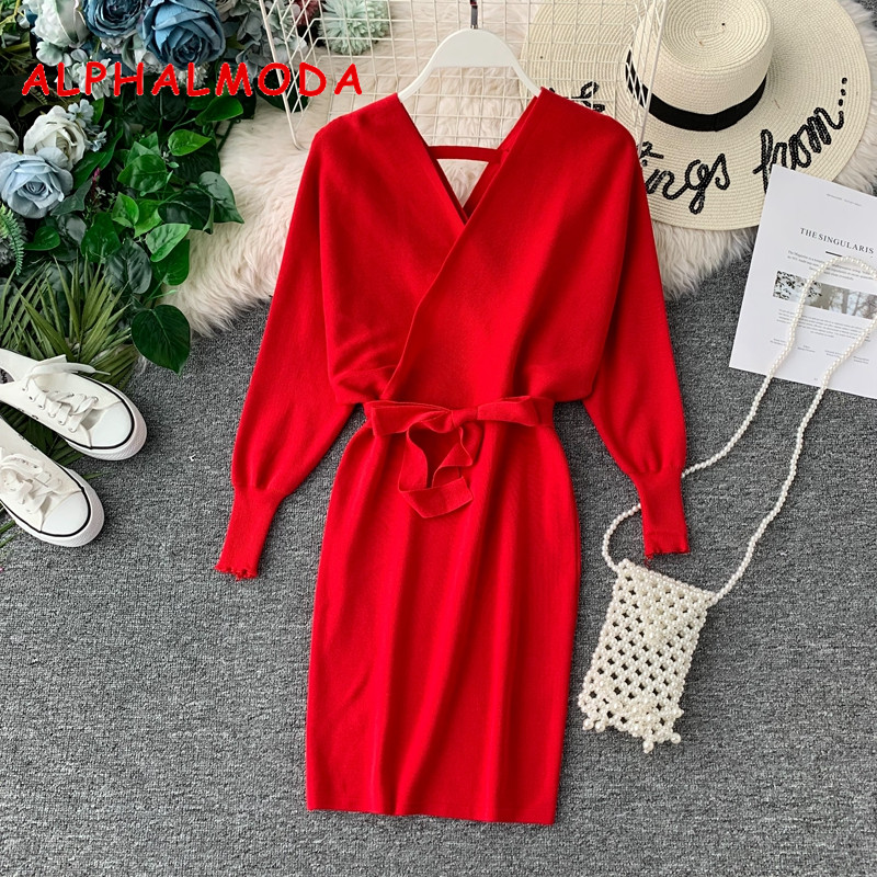 ALPHALMODA Bat-Sleeve V-neck Knitted Dress Female Autumn And Winter 2019 New Retro-vintage Slim Knit Vestidos