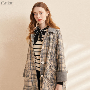 ARTKA 2020 Winter New Women Woolen Coat Vintage Plaid Single-breasted Woolen Coat Long Loose Woolen Outerwear Women FA25001Q юбка artka qb17249d