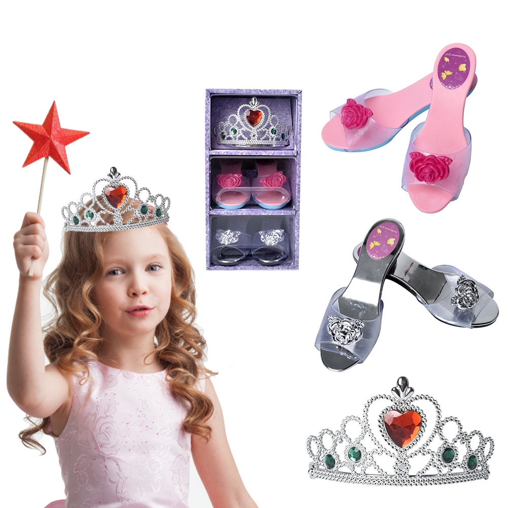 Girls Dressup Toys 1:1 Princess Shoes Crown Dress Up Toy Set Children Role Play Costume Cosplay Props Birthday Gifts For Girls