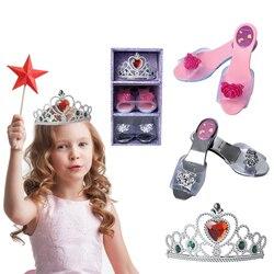 Meninas bonecas brinquedos 1:1 princesa sapatos coroa vestir-se brinquedo conjunto crianças role play traje cosplay adereços presentes de aniversário para meninas