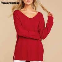 Madam clothing OWLPRINCESS V Neck Long Sleeve Shirt Women Solid Casual Loose Woman T-shirt Autumn Long Tops Femme Free Shiping