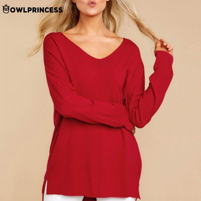 Madame vêtements owlprincesse col en V à manches longues chemise femmes solide décontracté ample Femme T-shirt automne hauts Femme livraison gratuite