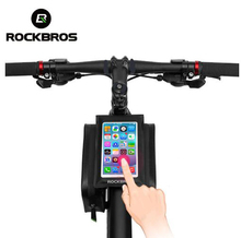 ROCKBROS Waterproof Touch Screen Bike Bag Front Top Tube Frame 6.0 Phone Bag Pannier Rainproof Cycling Bike Accessories cbr outdoor cycling bike touch screen top tube bag black grey