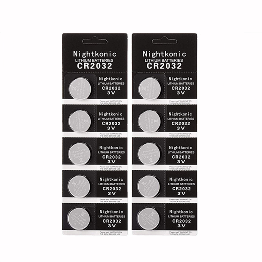 Nightkonic ( 2packs)10 PCS CR2032 <font><b>battery</b></font> 3V Lithium BR2032 DL2032 ECR2032 CR <font><b>2032</b></font> Button Coin <font><b>Battery</b></font> image