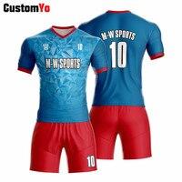 Design Blue Black Red Soccer Uniforms Breathable Trainingspak Voetbal Jersey