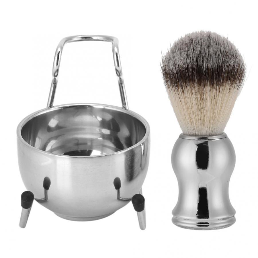 Stainless Steel Shaving Brush Beard Brush Holder Stand Soap Bowl Shaving