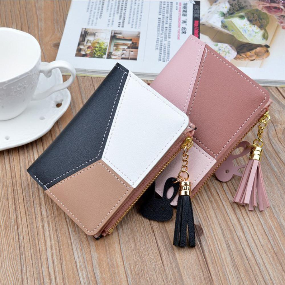 Tassel PU Leather Women Wallets Small Luxury Brand Famous Mini Short Wallet Bag Purses Coin Purse Card Holder Zipper Patchwork
