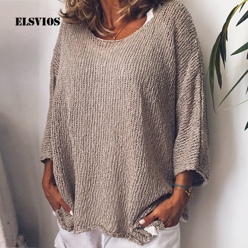 ELSVIOS 5XL Women   Blouse   2019 Autumn Casual Long Sleeve Knitting Tops Female O Neck Solid Casual Pullover Loose Streetwear   Shirt