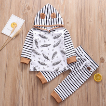 Newborn Baby Boys Clothes Set Autumn Feather Hooded Pullover Tops Stripe Pants 2PCS Cotton Outfits Cute Infant Toddler Clothing 1 2 3 4 year boys clothes 2018 new cotton casual kids outfits star shirts stripe pants 2pcs baby children clothing set