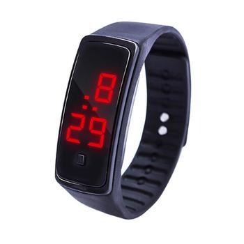 Moda zegarki elektroniczne mężczyźni sport zegarki mężczyźni LED zegarki cyfrowe silikon pasmo bransoletki z zegarkiem uczeń zegarki relojes tanie i dobre opinie WOONUN 21cm Moda casual Cyfrowy Akrylowe Ukryte zapięcie Nie wodoodporne 10mm Prostokąt 35mm electronic Sport Watch 03618
