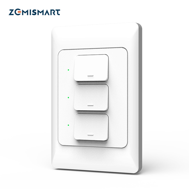Zemismart US AU WiFi Wall Push Light Switch Alexa Google Home TUYA APP Control One Gang Two Three Gangs Physical Switches