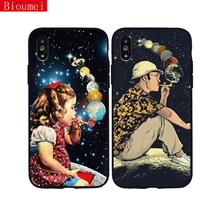 Bioumei silicon TPU case for iPhone XR XS Max XS 5 6 6S 7 8 Plus spaceart galaxies planets universe for iPhone 7case 89 galaxies