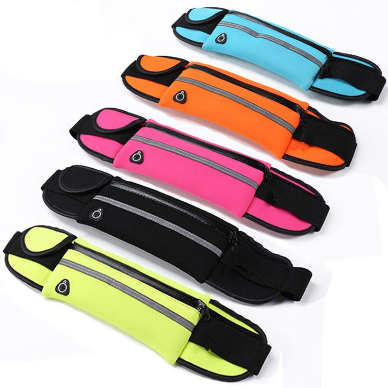 Unisex Sports Waist Pockets Lycra  Waterproof Ultra-Thin Pockets 6 Inch Mobile Phone Bag Running Belt For Fitness Gym Yoga