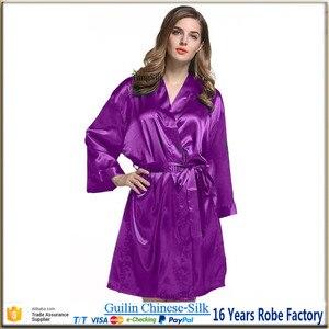 Image 2 - Шелковый халат, атласный коктейльный халат, Свадебная женская ночная рубашка для невесты, халат для подружки невесты