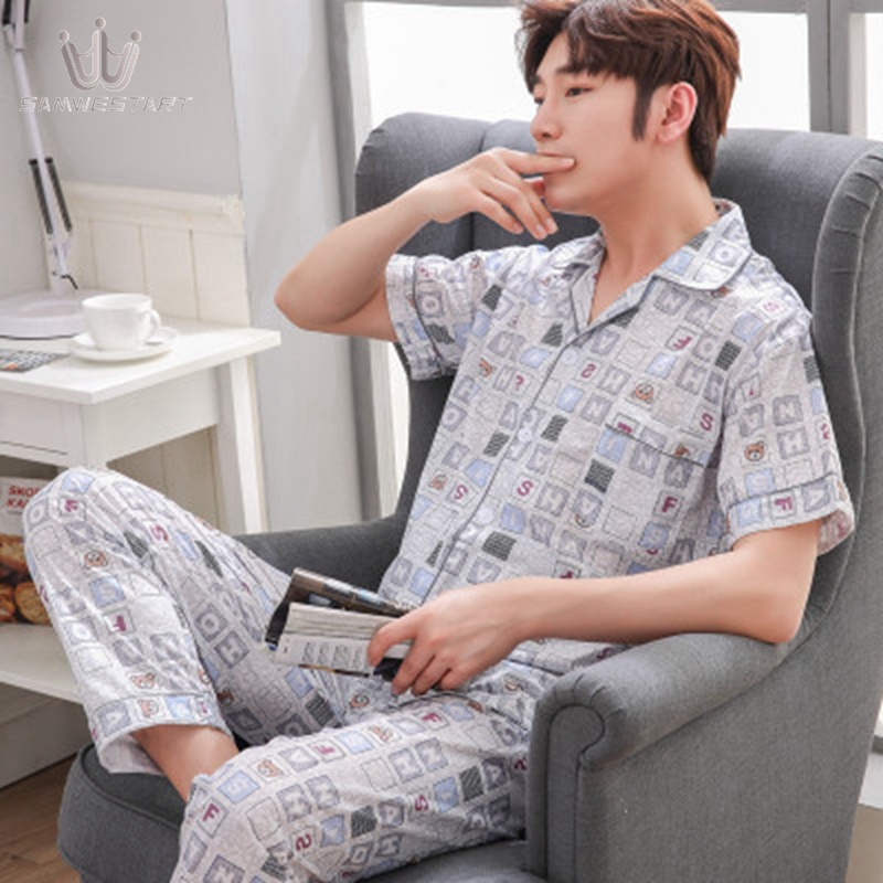 SAMWESTART Men's Cotton Pajamas Sets Spring Summer  Men Pajamas Nightwear Men Sexy Modern Cardigan Style Navy Gray Outwear