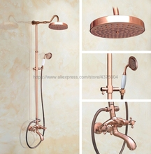 Antique Red Copper Bathroom Shower Faucet Wall Mounted W/ Hand Shower Set Cold and Hot Water Mixer Tap Nrg606 все цены