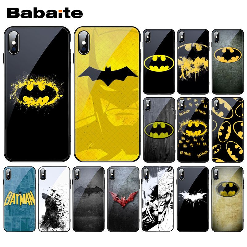 Babaite Superhero Batman logo Print Tempered Glass Phone case Shell For iphone 11 Pro Max XS MAX XR 8 X 7 6S 6 Plus image