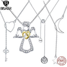 925 Sterling Silver Key Guardian Angel Wings Family Tree Of Life Feather Infinity Necklaces & Pendants Silver Jewelry Collar