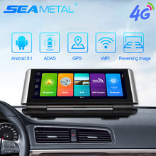 4G Android 8.1 Dashboard Video Recorder Dash Cam GPS Navigation ADAS DVR 1080P FHD 6.86 Inch WIFI Registrar with Rear Camera