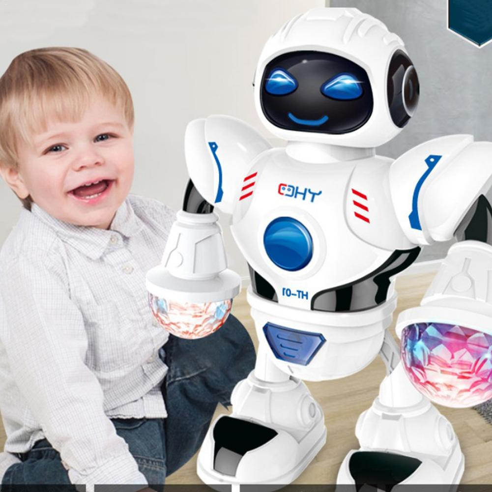 New Space Dazzling Music Robot Shiny Educational Toys Electronic Walking Dancing Smart Space Robot Kids Music Robot Toys