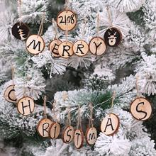 new 10Pcs DIY Painting Round Wooden Plate Christmas Tree Hanging Pendant Ornament wooden plate