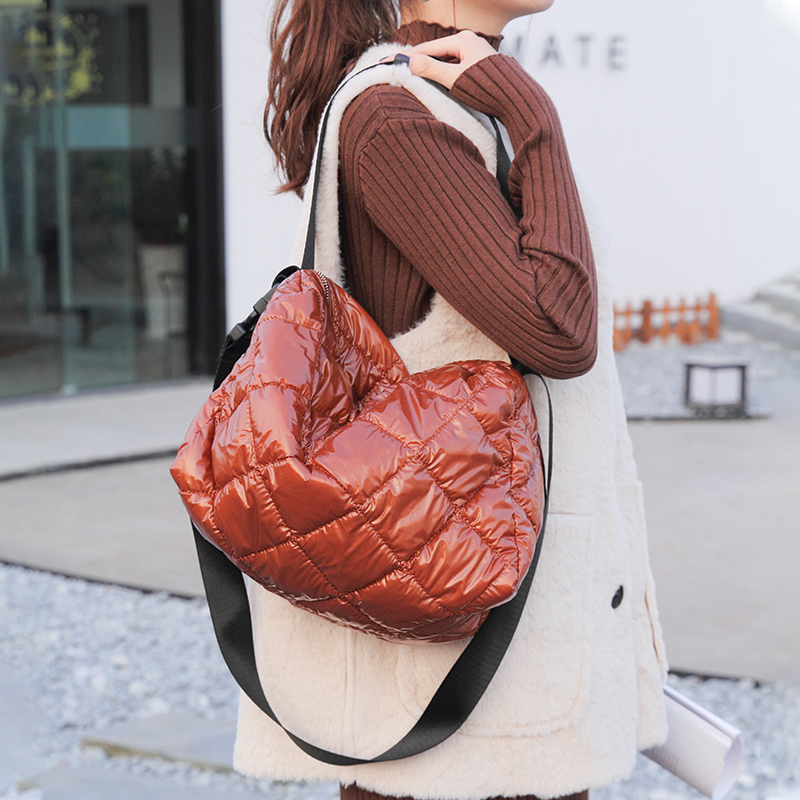 New Women Winter Space Pad Bale Shoulder Bag Cotton Feather Down Tote Bag Casual soft Crossbody Messenger Bag