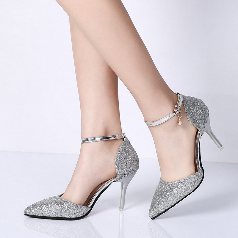 Rimocy elegant ladies shinning glitter gold silver pumps 2019 sexy pointed toe high heels ankle strap wedding party shoes woman 2