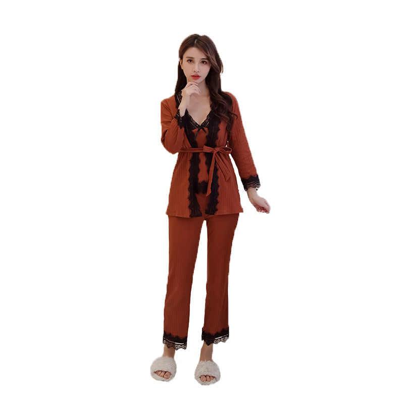 Nuevo gris para mujer 3 piezas Sleep Top pantalones traje bata ropa de dormir pijamas Sexy primavera otoño ropa de casa pijamas M-XL