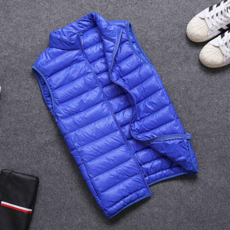 남자 다운 조끼 가을 소년 다운 조끼 라이트 다운 재킷 남자 따뜻한 겉옷 M L XL XXL 3XL 4XL