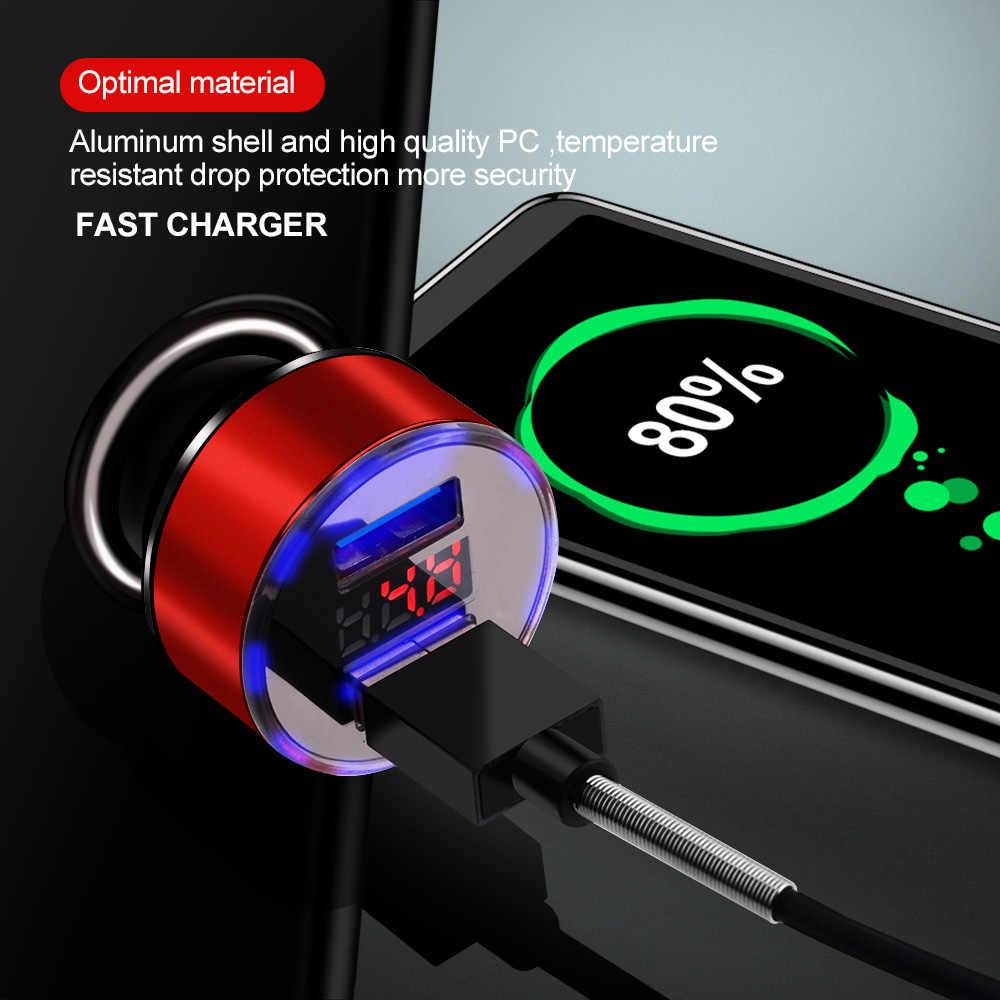 ROMICHW 3.1A cargador de coche Dual USB pantalla LED Universal para teléfono móvil cargador de coche para iPhone 6 6s X xr Samsung Xiaomi Tablet