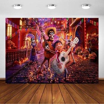 Fondo de póster de película de Coco para Fiesta de cumpleaños Día de los muertos decoración de fondo de fotografía para sesión fotográfica