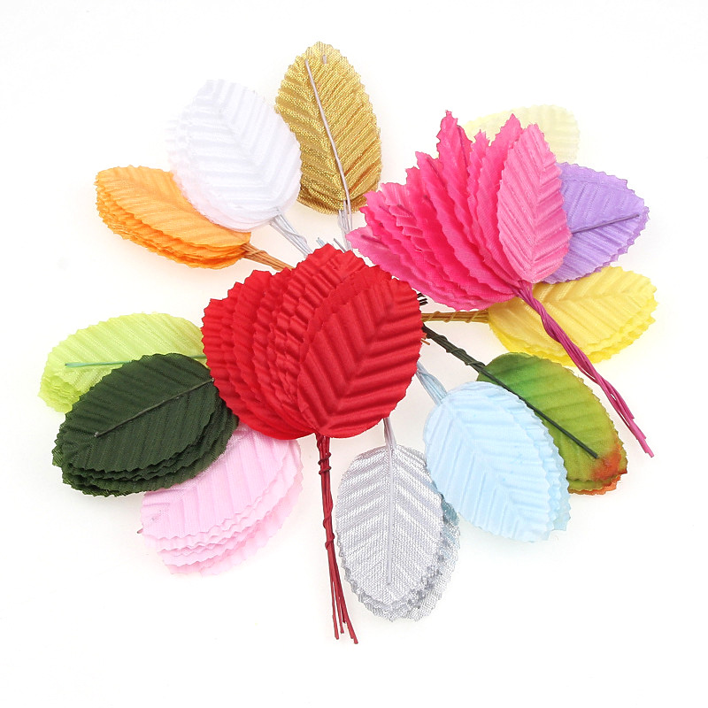 30pcs Silk Nylon Leaf-shaped Leaves Artificial Flower For Fake Flower Wedding Ornament DIY Wreath Gift Home Decoration Craft