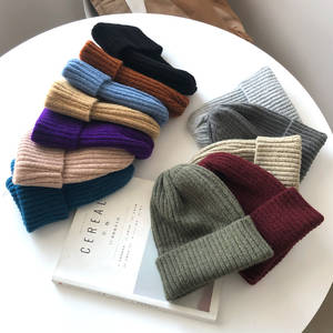 Knitted Hat All-Match-Hat Wool Beanie Warm Candy-Colors Kpop-Style Women Elegant Soft