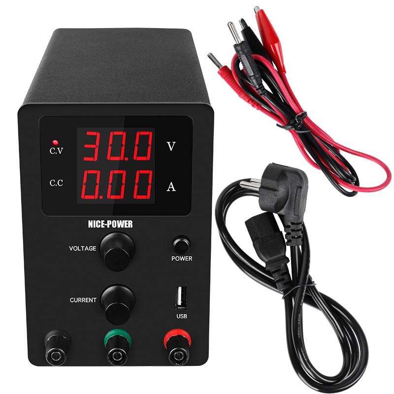Nuevo laboratorio USB CC 60V 5A fuente de alimentación de laboratorio regulada ajustable 30V 10A estabilizador y regulador de voltaje fuente de Banco de conmutación