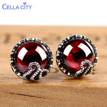 Cellacity Delicate Garnet Ear Studs Vintage Silver 925 Jewelry Round Gemstones Earrings for Women Chalcedony Female Gift Party(China)