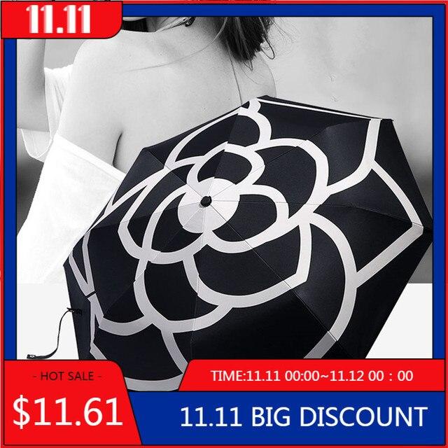 Camellia parapluie pliable, marque de luxe, automatique, UV, haute qualité, transparent, pluie pour hommes et femmes