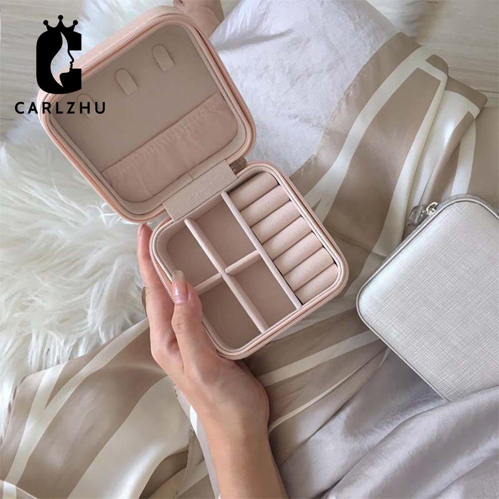 PU Leather Jewelry Organizer Display Travel Jewelry Case Boxes Portable Zipper Storage Box Joyeros Organizador De Joyas