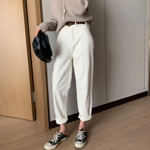 2020 Spring Cotton White Jeans Pants For Women High Waist Harem Mom Jeans New Jeans Denim Pants Ka528